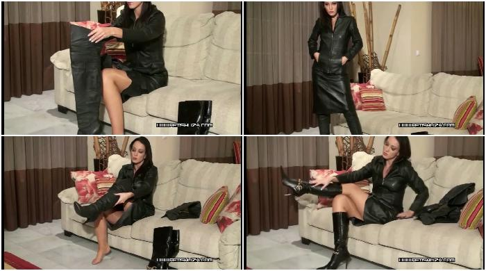 Fitting black leather boots