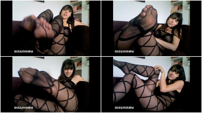 Full body stocking foot worship