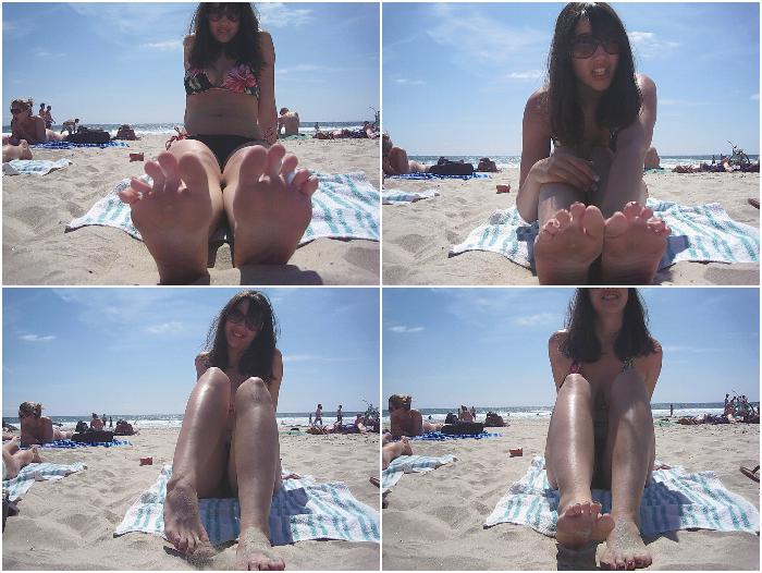 Sucking my toes on San Diego beach!