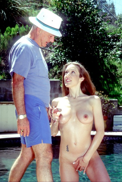 Voyeur and poolside threesome - Old Man and Teen