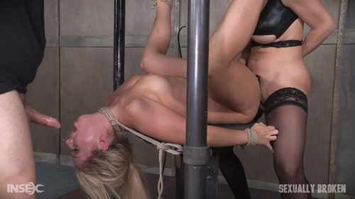 Super Hot Madelyn Monroe Tied With Legs Spread Wide and Tag Teamed By Couple