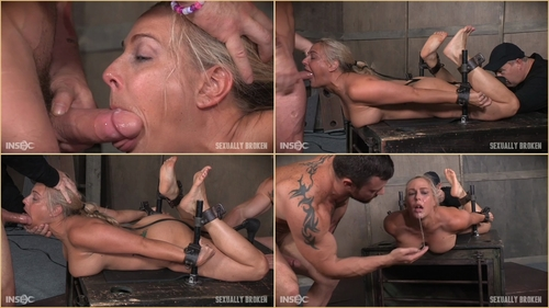 Big titted Blond MILF is hogtied and face fucked into oblivian. Tight bondage, deep throat, Orgasms