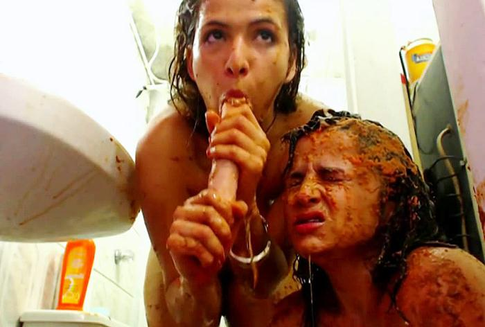 Scat - Girls - Lecherous lesbian kopro sex in bathroom (Shit) [HD 720p]