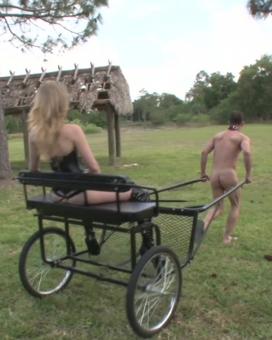 Pony Cart Ride Then Strapon Fucking - Femdom
