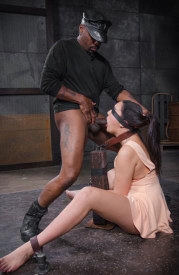 Cute brunette Paisley Parker blindfolded in strict bondage