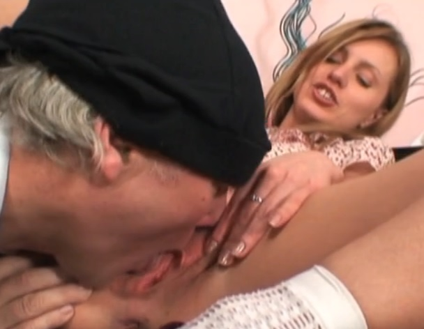 Sexy babe fucks older couple