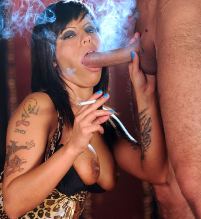 Sexy Geordie brunette slut chain smokes