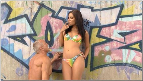 Sexy Brunette In Bikini Humiliates Slave Female Domination