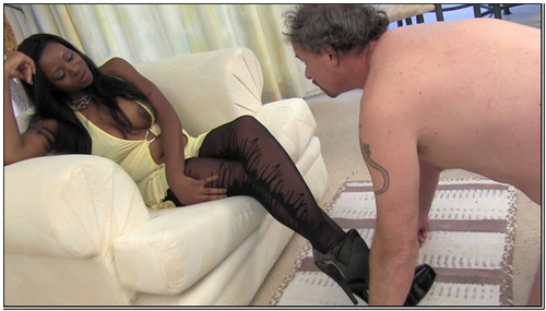 Ebony Pantyhose Domination In Yellow Female Domination
