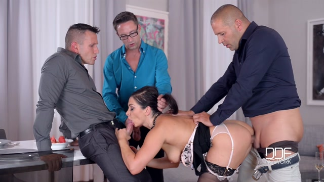 Lea Lexis Deepthroating Dinner Party  Group Sex