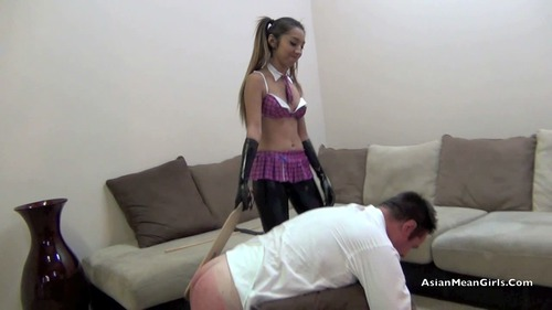 Very attractive mistress uses two slaves 2