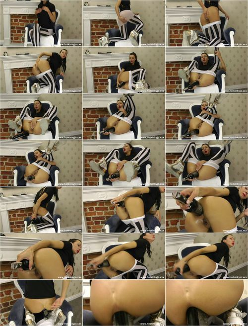 Hotkinkyjo.xxx - Hot kinky jo - White strips tights and wine bottle in ass - 19.09.2015 [FullHD 1080p]