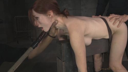 Sadistic mute destroys cock in bondage handjob 1