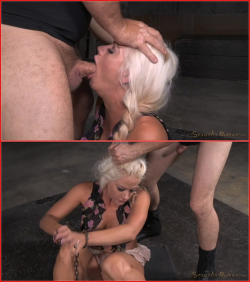Sexy blonde Holly Heart ragdoll fucked in cuffs with drooling brutal deepthroat on hard cock! BDSM, Bondage, Domination, All sex