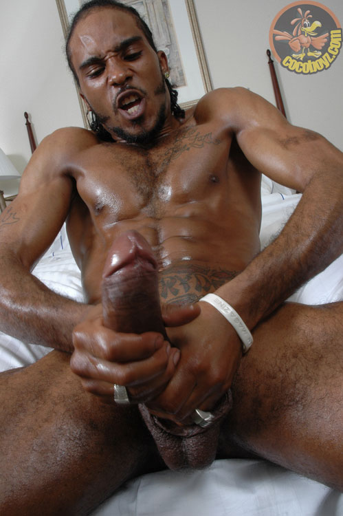 Naked gay stud with a fully erected penis